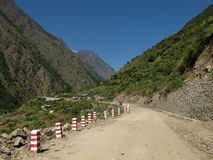 New road from Nepal to China, little village Rasuwagarhi Royalty Free Stock Photo
