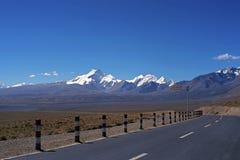 New road in Tibet. Stock Photo