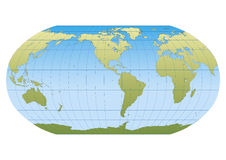 New Robinson Americas. Map of the world in Robinson projection with graticule. Centered in the American Continent Stock Image