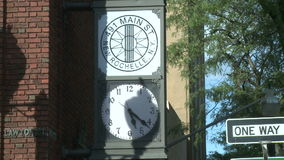 New Rochelle clock tower stock video