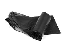 New roll of plastic garbage bags isolated on white Royalty Free Stock Images