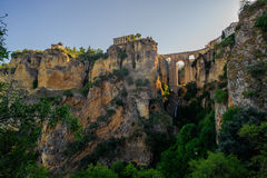 New Ronda bridge from gorge Stock Photography