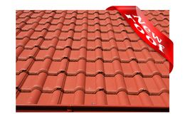 New roof covered with red concrete roofing Stock Images