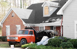 New Roof Installation on a tornado damaged house with Truck Stock Photos