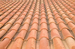 New roof with orange ceramic tiles Royalty Free Stock Photos