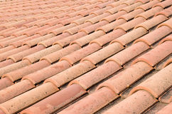 New roof with orange ceramic tiles Royalty Free Stock Photography