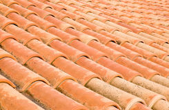 New roof with orange ceramic tiles Royalty Free Stock Photo