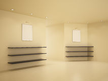 New room, clean interior, 3d illustration. New room, clean interior, few shelves, 3d illustration Stock Photo