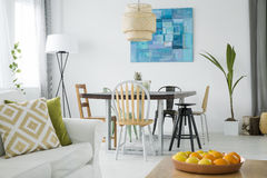 New room with dining table Royalty Free Stock Photos