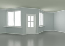 New room, door and windows, 3d illustration Stock Photo