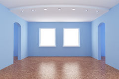 New room, empty interior. With clipping path for windows, 3d illustration Stock Photography