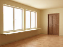 New room, with wooden door and floor Stock Images