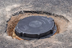 New round Iron manhole cover on the road Stock Images
