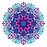 New Round Mandala-06. Vector hand-drawn blue and purple oriental mandala, ethnic doodle mandala with colorful ornament, isolated decorative template, Islam royalty free illustration
