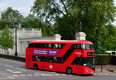 New Routemaster bus. Hyde Park Corner, The 2008 new Routemaster bus with inspiration from its iconic predecessor with a rear open platform Royalty Free Stock Photos