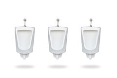 New row of ceramic outdoor urinals in men public toilet. Isolate. D on white background. Saved with clipping path Royalty Free Stock Photos
