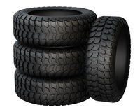 New rubber tires for car  on white background. Royalty Free Stock Image