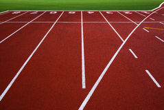 New running track with number 1-8 & green grass, abstract, texture, background. Royalty Free Stock Photo