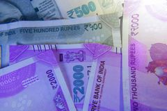 New 2000 and 500 Rupee currency note.  Stock Image