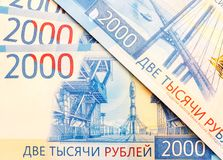New Russian banknotes in denominations of 2000 rubles close-up. Top view Royalty Free Stock Image