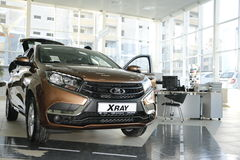 New Russian car Lada XRAY during presentation 14 February 2016 in the automobile showroom of de Royalty Free Stock Photography