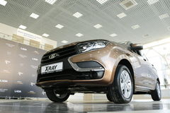 New Russian car Lada XRAY during presentation 14 February 2016 in the automobile showroom of de Stock Photos