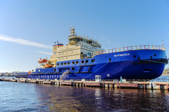 The new Russian diesel-electric icebreakers MURMANSK on the quay at the English Embankment in St. Petersburg Stock Photo