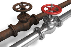 New and rusty pipelines Royalty Free Stock Images