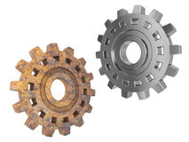 New and rusty steel gears Royalty Free Stock Image