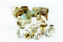 New and rusty valves and threads Royalty Free Stock Photography