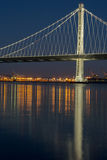 The New San Francisco`s Bay Bridge East Wing at Night. The San-Francisco-Oakland Bay Bridge illuminated with led lights stock images