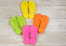 New Sandals Placed on Faded Wood Royalty Free Stock Photos