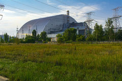 A new sarcophagus after the explosion at the fourth block. Of the Chernobyl nuclear power plant. Dead radioactive zone. Consequences of the Chernobyl nuclear royalty free stock photography