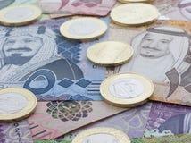 Free New Saudi Riyal Banknotes And Coins Showing King Salman Royalty Free Stock Photography - 108621167