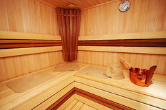 New sauna. New and wooden sauna in modern hotel Stock Photography