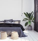 New Scandinavian boho style bedroom. 3d render royalty free stock photo