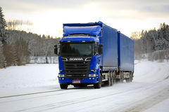 New Scania Cargo Truck on Winter Road Royalty Free Stock Photography