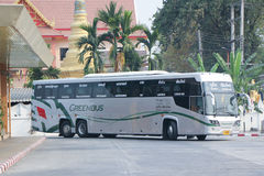 New Scania 15 Meter bus of Greenbus company. Royalty Free Stock Photography