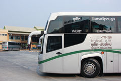New Scania 15 Meter bus of Greenbus company. Stock Photo