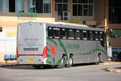New Scania 15 Meter bus of Greenbus company. CHIANGMAI, THAILAND -NOVEMBER 25 2015: New Scania 15 Meter bus of Greenbus company. Route Phuket and Chiangmai. VIP Royalty Free Stock Photography