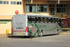 New Scania 15 Meter bus of Greenbus company. CHIANGMAI, THAILAND -NOVEMBER 25 2015: New Scania 15 Meter bus of Greenbus company. Route Phuket and Chiangmai. VIP Royalty Free Stock Photos