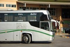 New Scania 15 Meter bus of Greenbus company. CHIANGMAI, THAILAND -NOVEMBER 25 2015: New Scania 15 Meter bus of Greenbus company. Route Phuket and Chiangmai. VIP Stock Images