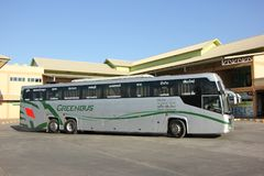 New Scania 15 Meter bus of Greenbus company. CHIANGMAI, THAILAND -NOVEMBER 25 2015: New Scania 15 Meter bus of Greenbus company. Route Phuket and Chiangmai. VIP Stock Photo