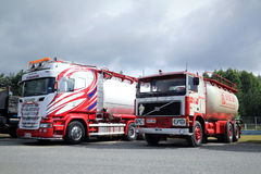 New Scania and Nostalgic Volvo F1225 Tank Trucks stock photo