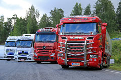 New Scania R730 and Mercedes-Benz Show Trucks Royalty Free Stock Image