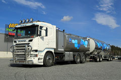 New Scania Tanker Truck Transporting Milk Royalty Free Stock Image