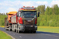 New Scania Truck Transports Roadworks Machinery Stock Photos
