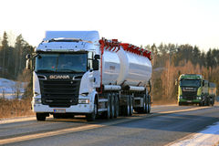 New Scania Trucks Transport Load on Winter Afternoon Stock Photography