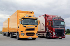 New Scania and Volvo Transport Trucks Parked stock image