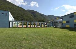 New school, garden Stock Photo